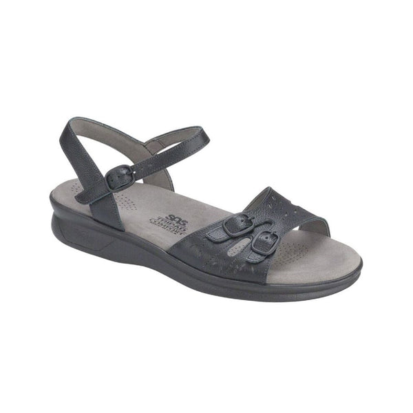 Black sandal with adjustable straps.