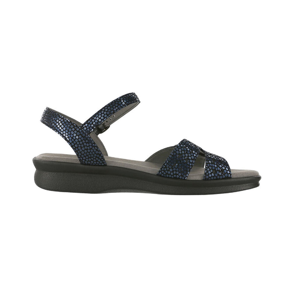 Navy patterned sandal with adjustable straps.