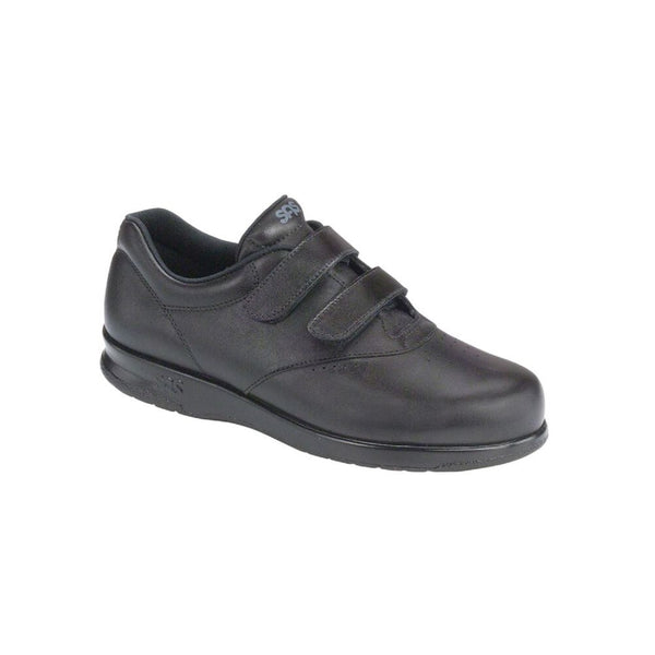 Black leather shoe with two velcro straps.