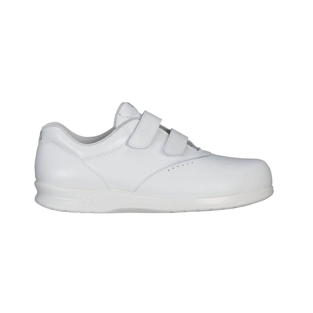 White leather shoe with two velcro straps.