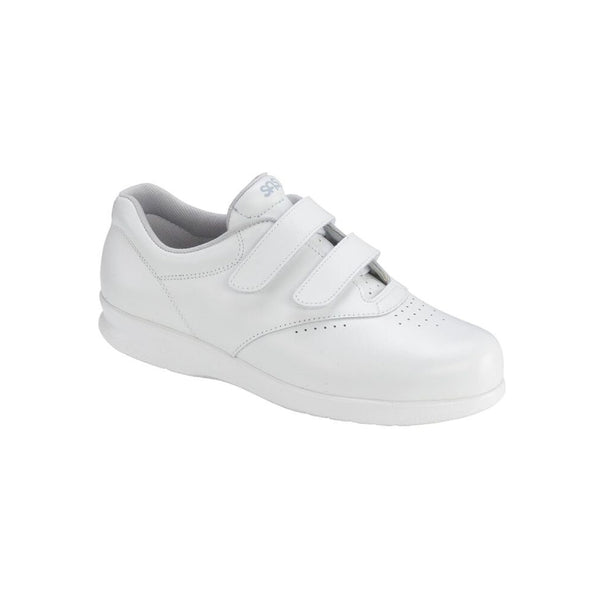 White leather walking shoe with two velcro straps.