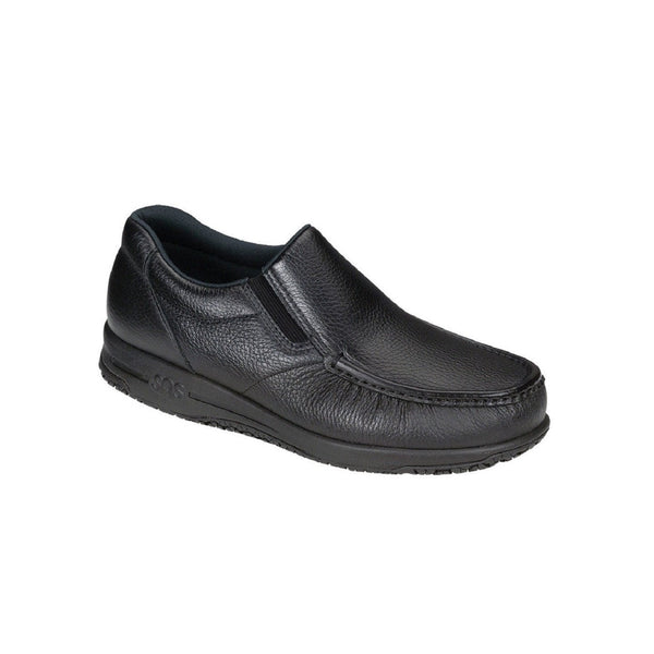 Men's leather slip on slip resistant shoe.