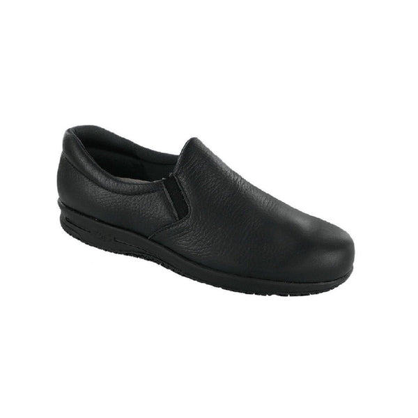 Women's leather slip on slip resistant shoe.