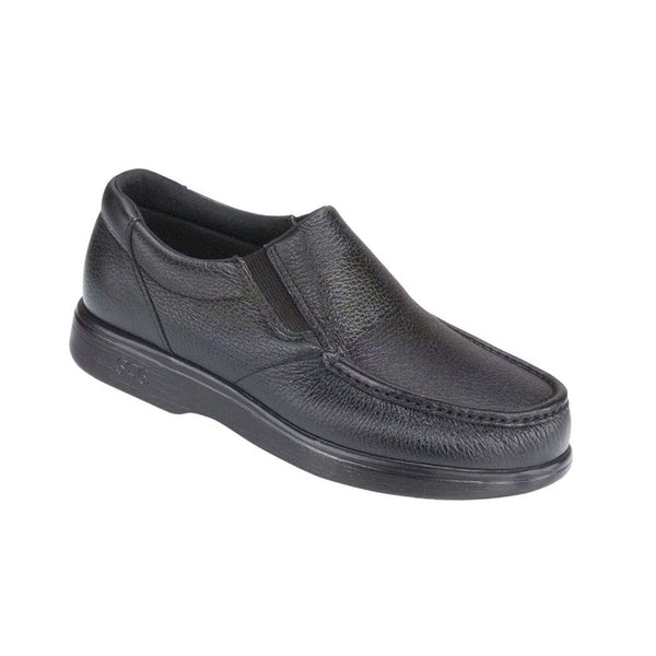Men's leather slip on moccasin style shoe.
