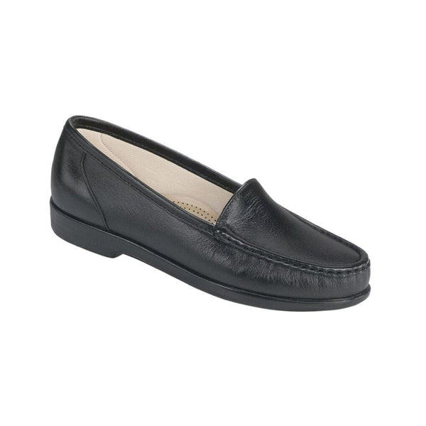 Black leather moccasin style loafer.