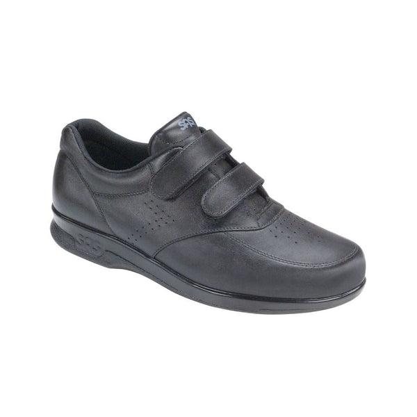 Men's leather walking shoe with two velcro straps.
