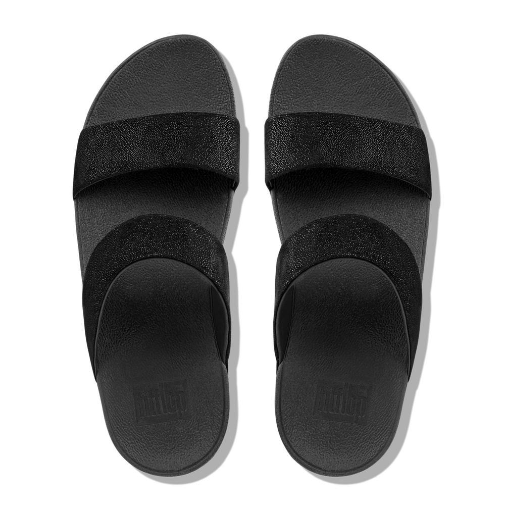 Fitflop SHIMMY™ Suede Slide Sandals (Black Shimmer)