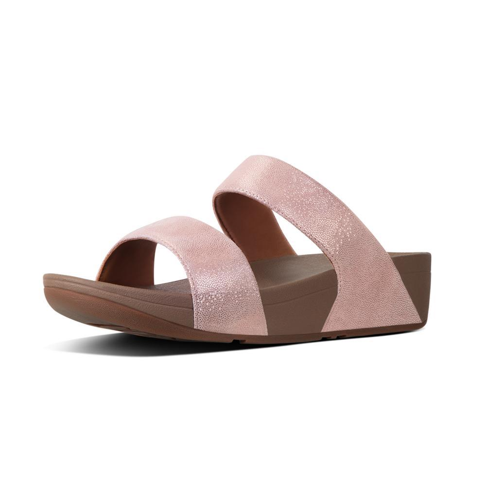 Fitflop SHIMMY™ Suede Slide Sandals (Rose Gold)