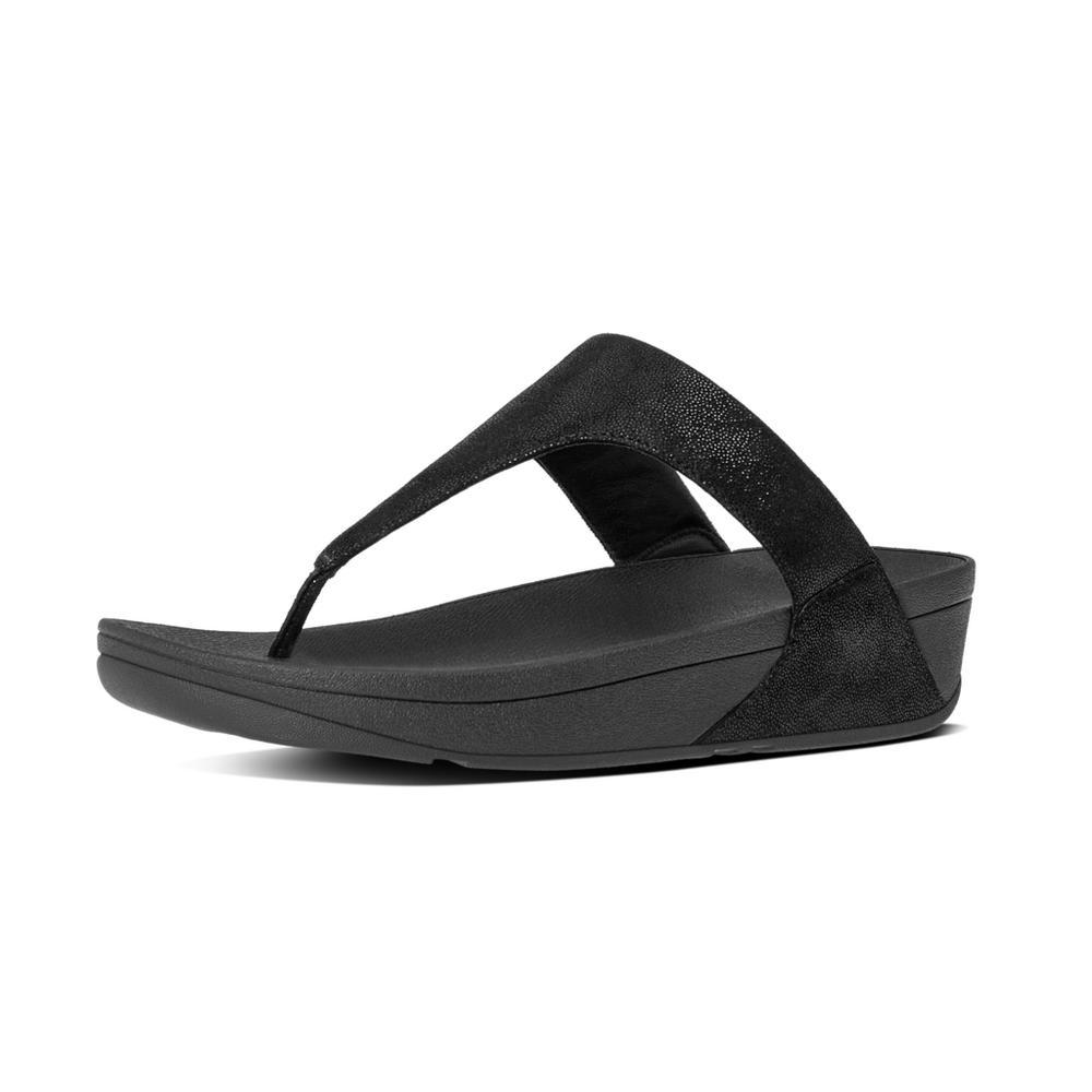 Fitflop SHIMMY™ Suede Toe Thong Sandals (Black Glimmer)