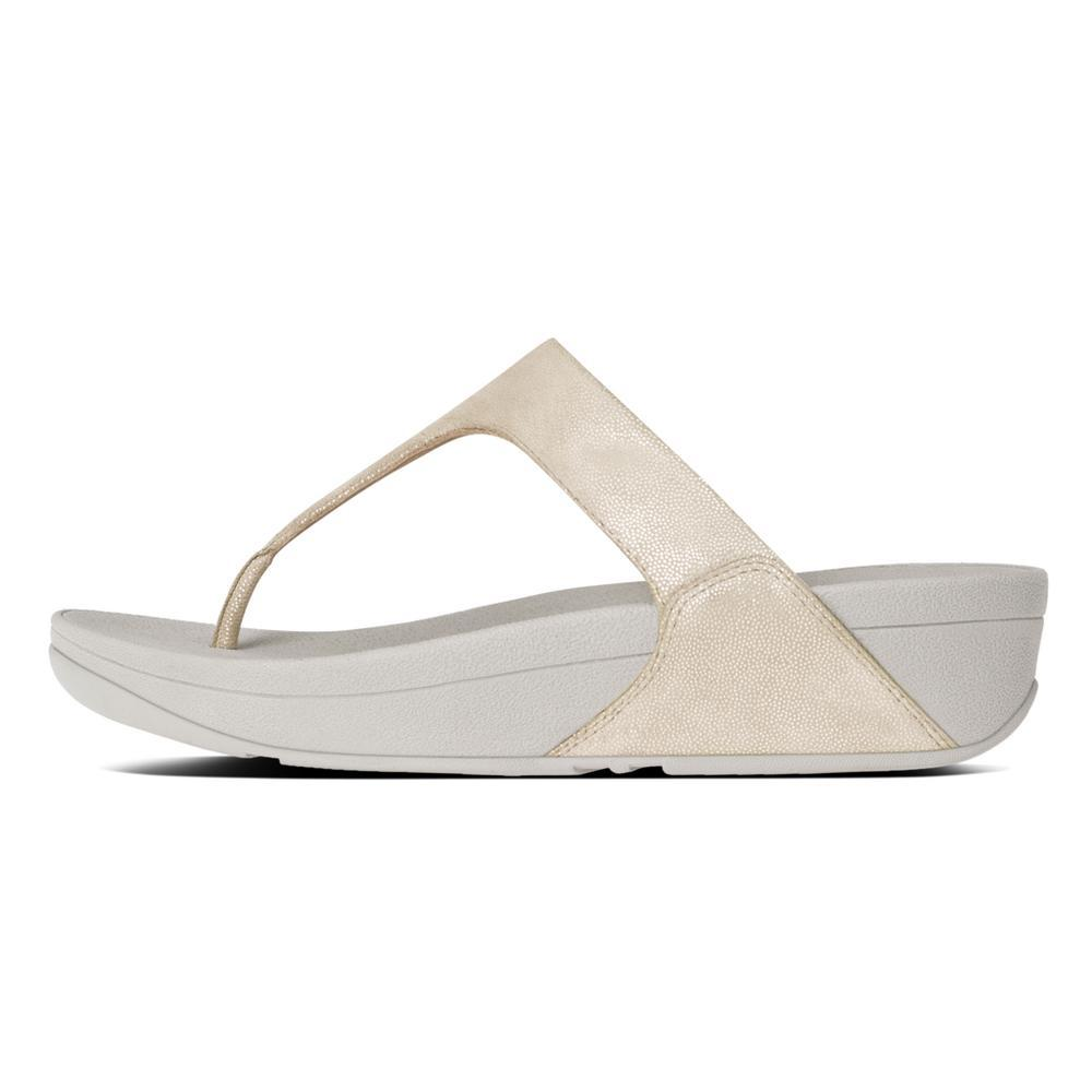 Fitflop SHIMMY™ Suede Toe Thong Sandals (Pale Gold)