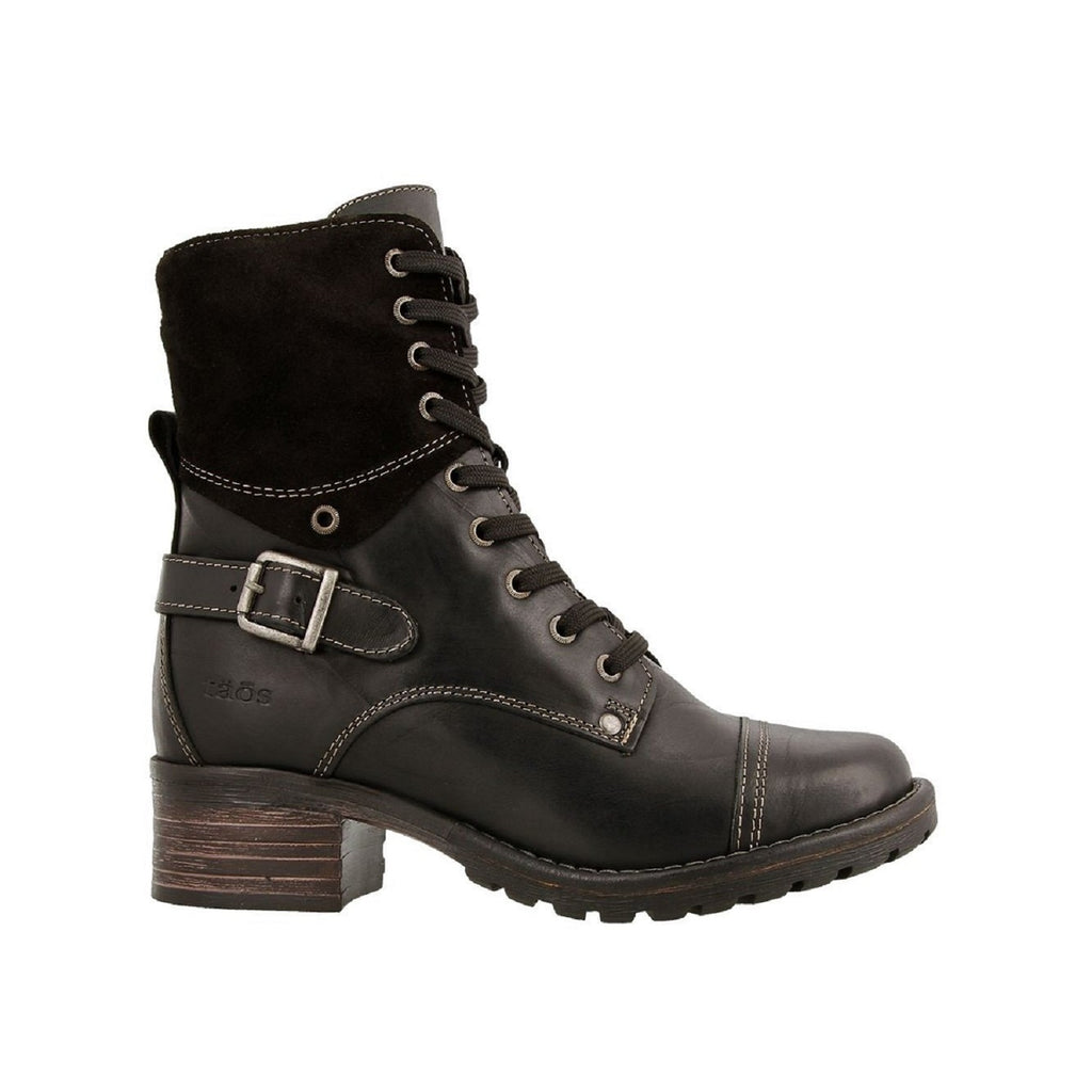 Black lace up combat boot.