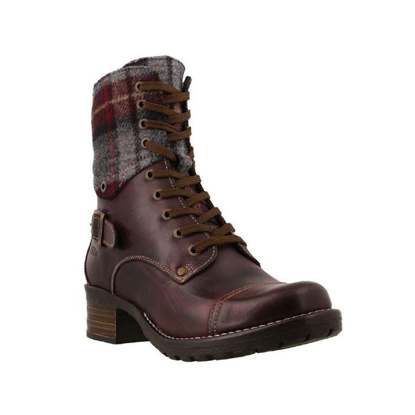 Taos Women's Crave Combat Boot (Bordeaux Plaid)