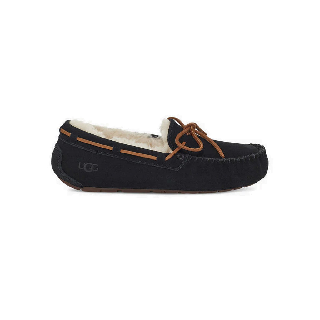 Moccasin style slipper with bow in black.