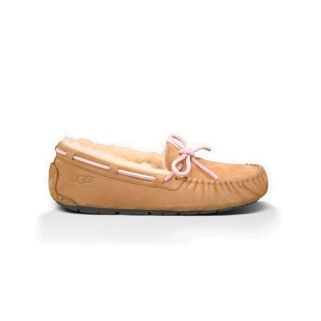 Moccasin style slipper with bow in light brown.