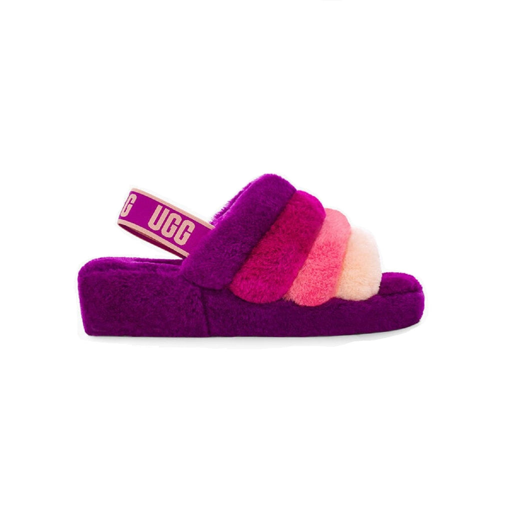 UGG Fluff Yeah Slipper with 1.5 inch platform and sheepskin lining in Berrylicious Multi.