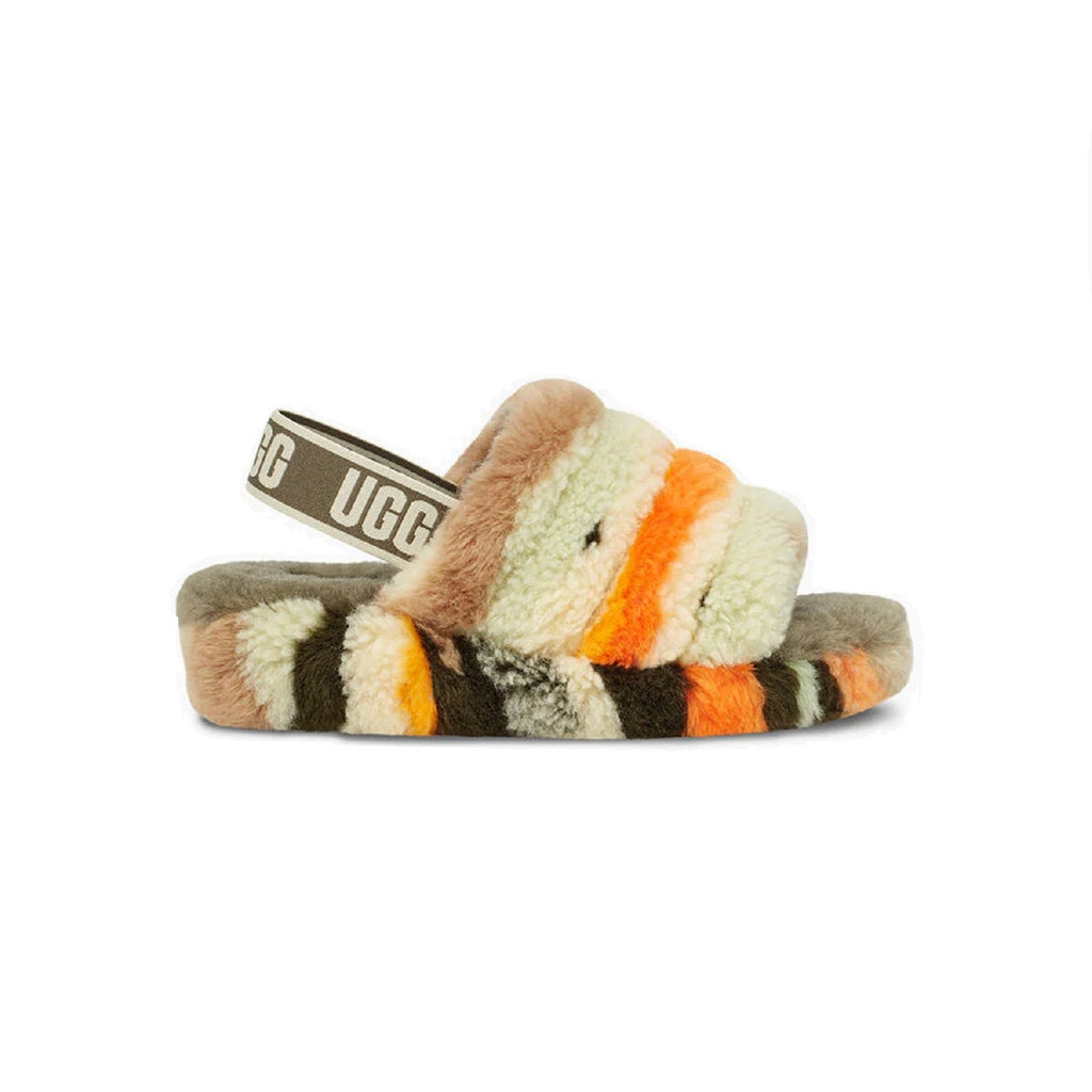 UGG Fluff Yeah Slipper with 1.5 inch platform and sheepskin lining in Olive multi.