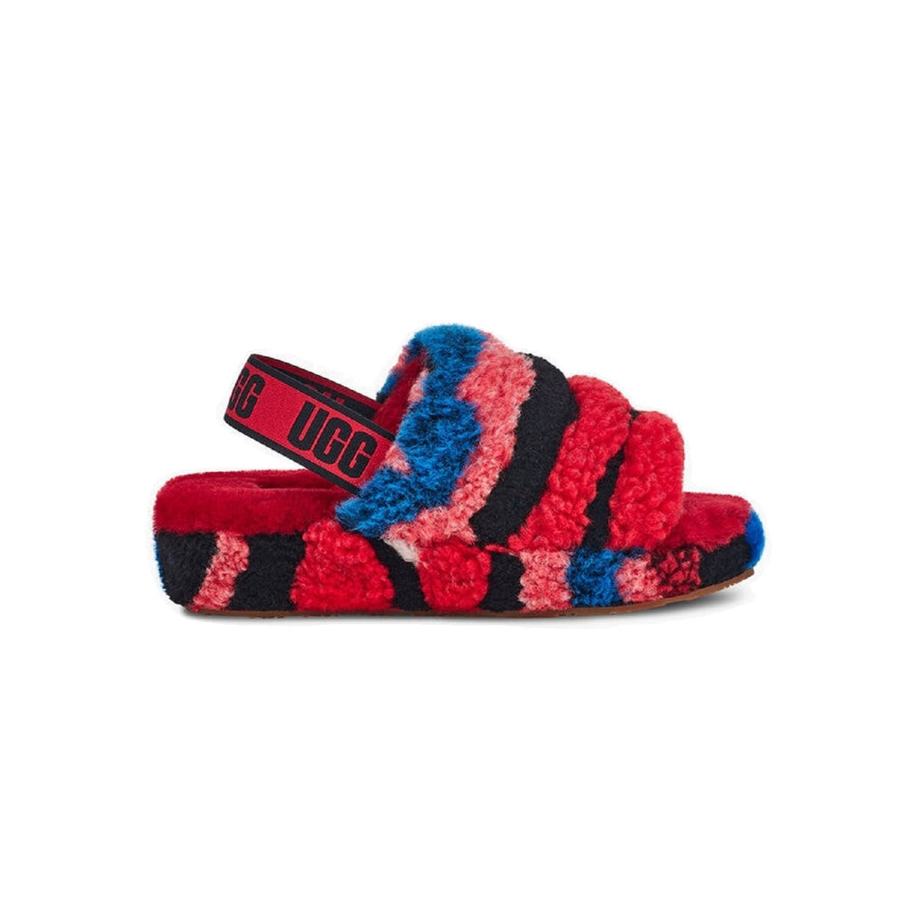 UGG Fluff Yeah Slipper with 1.5 inch platform and sheepskin lining in Red multi.