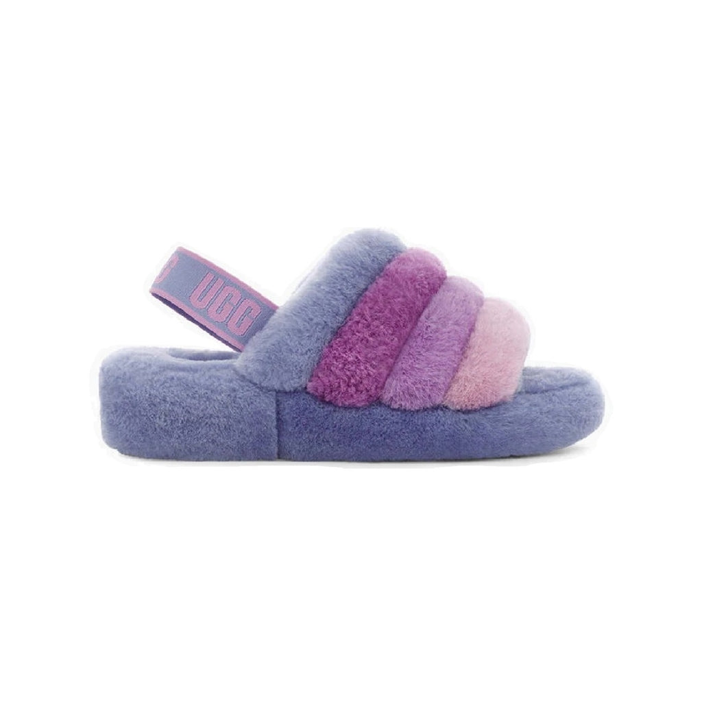 UGG Fluff Yeah Slipper with 1.5 inch platform and sheepskin lining in cornflower multi color.