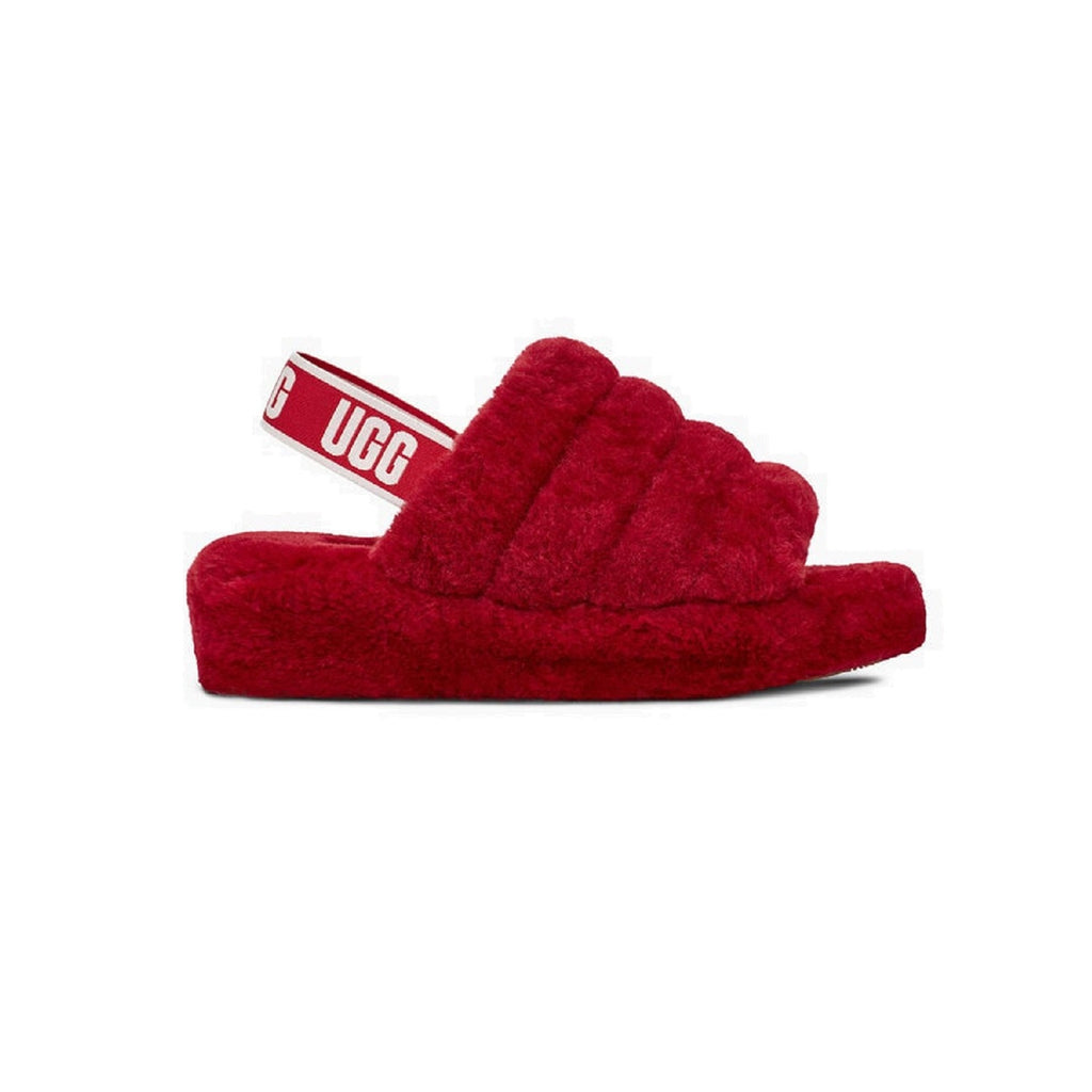 UGG Fluff Yeah Slipper with 1.5 inch platform and sheepskin lining in ribbon red.