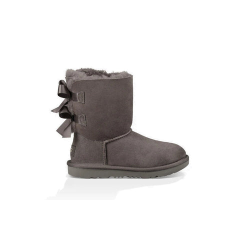 Kid's boot with two bows on the back in grey.