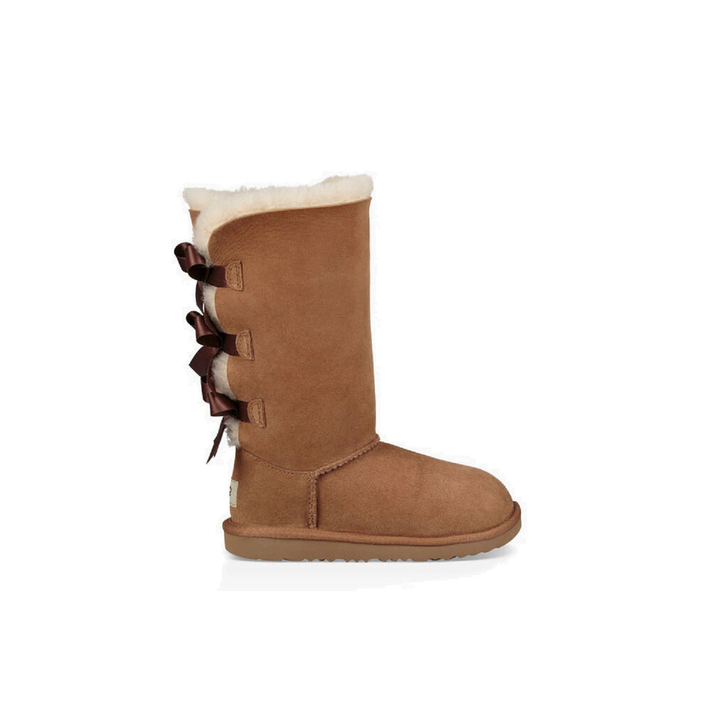 Kid's tall boot with three satin bows on the back in chestnut.