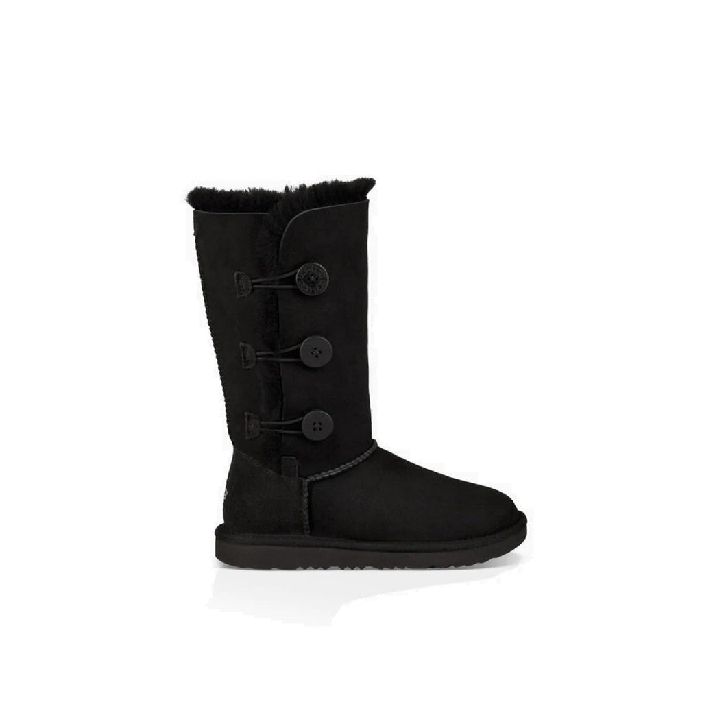 Tall Ugg kid's boot with three buttons on the side in black.