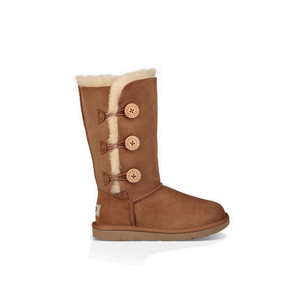 Tall Ugg kid's boot with three buttons on the side in chestnut.