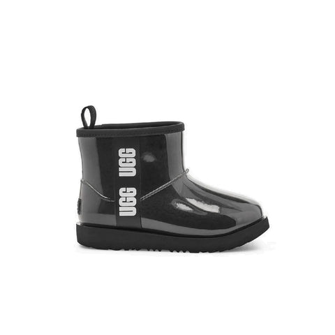 Clear black rain boot with sheepskin lining.