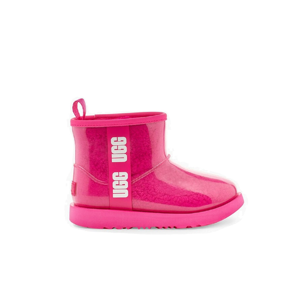 Clear pink rain boot with sheepskin lining.