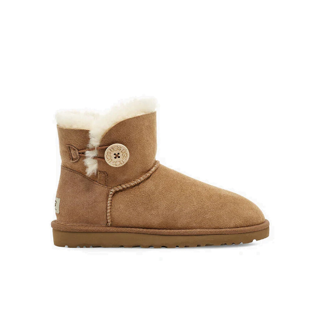 Ugg mini boot with button on the side in chestnut.