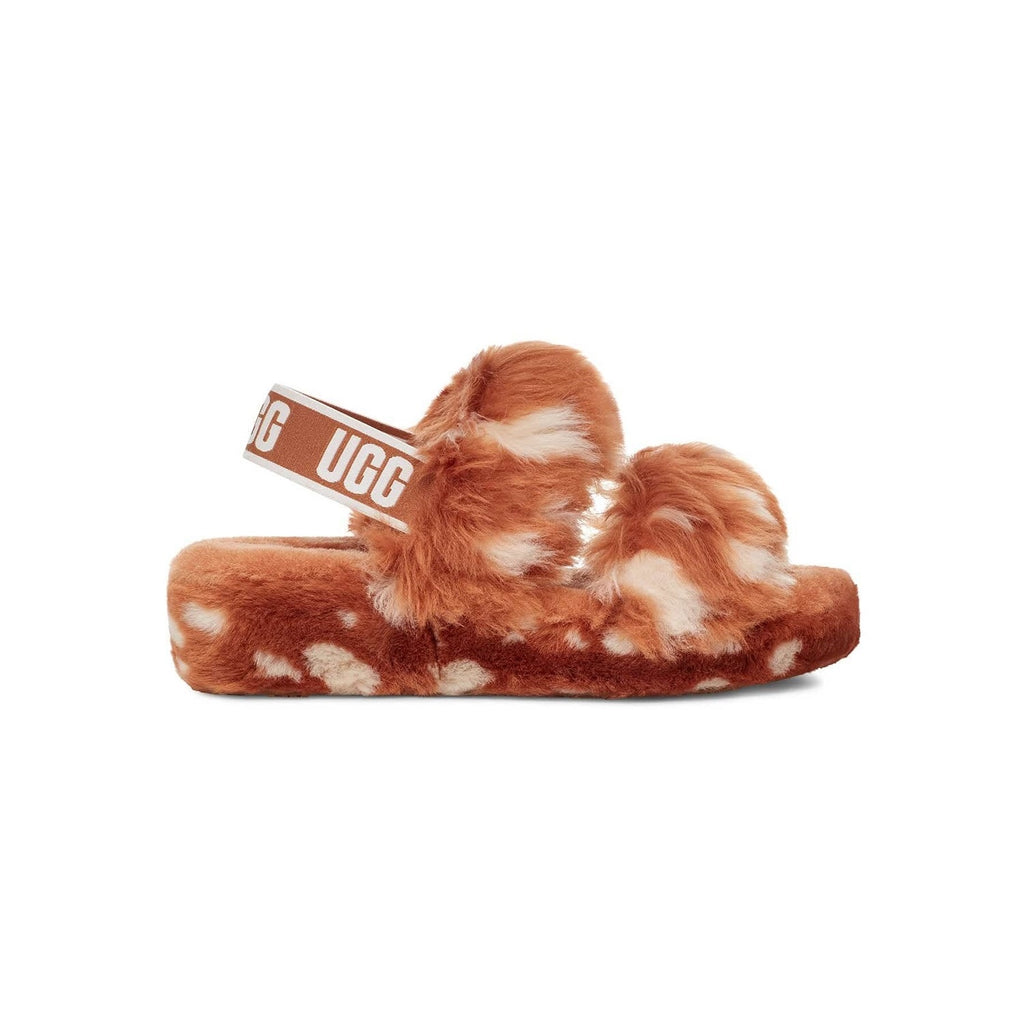UGG two strap sandal in brown with white spots.