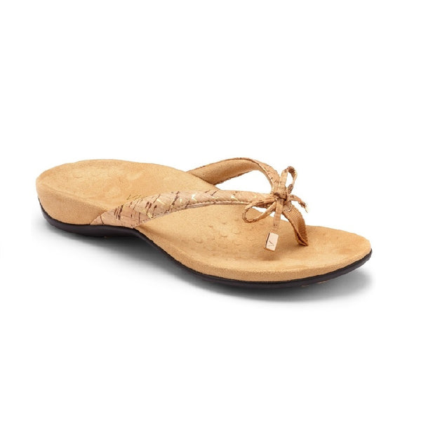 Gold cork flip flop with microfiber lining and bow detail.