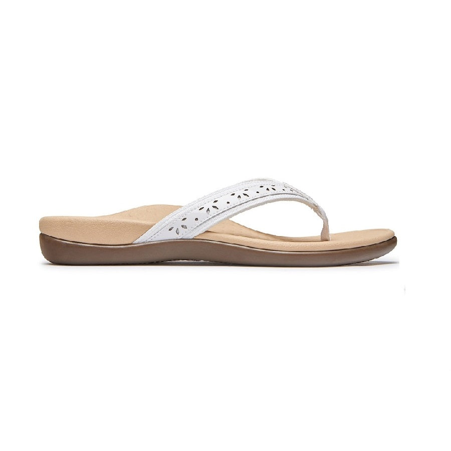 White flip flop with tan microfiber lining.
