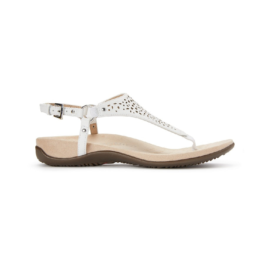 White sandal with toe post and cut out details.