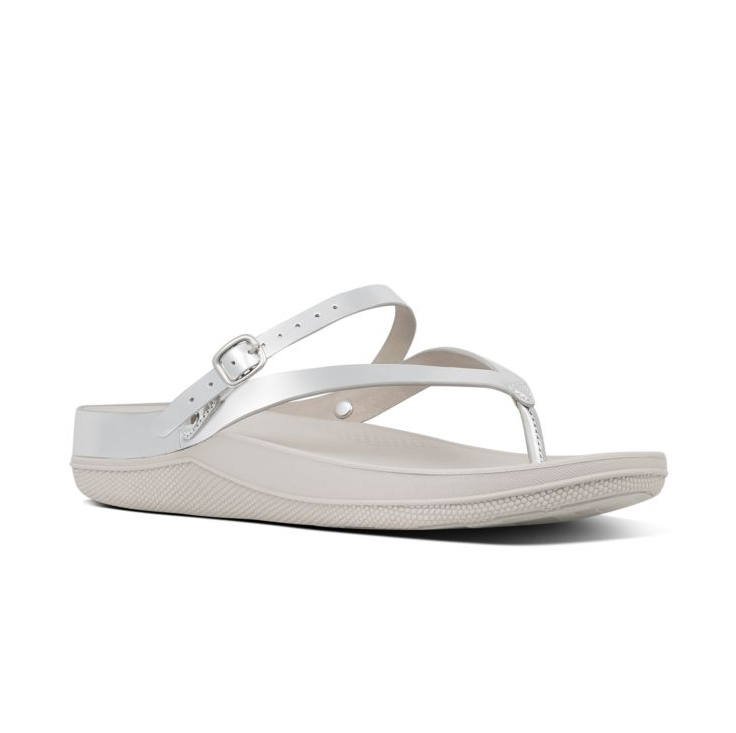 Fitflop FLIP™ Leather Sandals With Back Strap (Silver)
