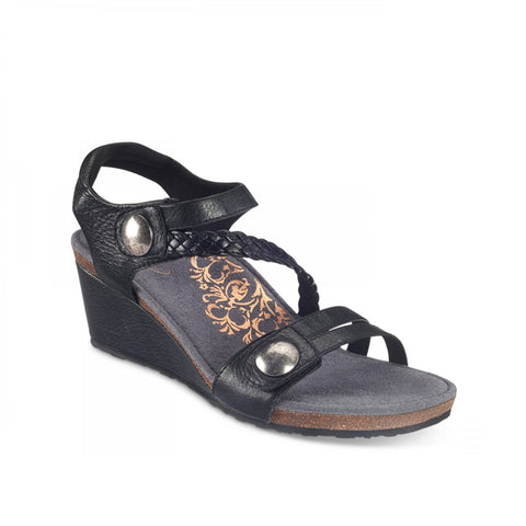 Aetrex Naya Braided Quarter Strap Wedge Sandal (Black)