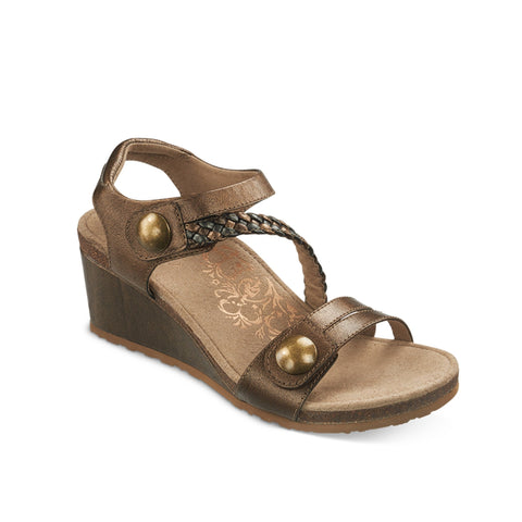 Aetrex Naya Braided Quarter Strap Wedge Sandal (Bronze)