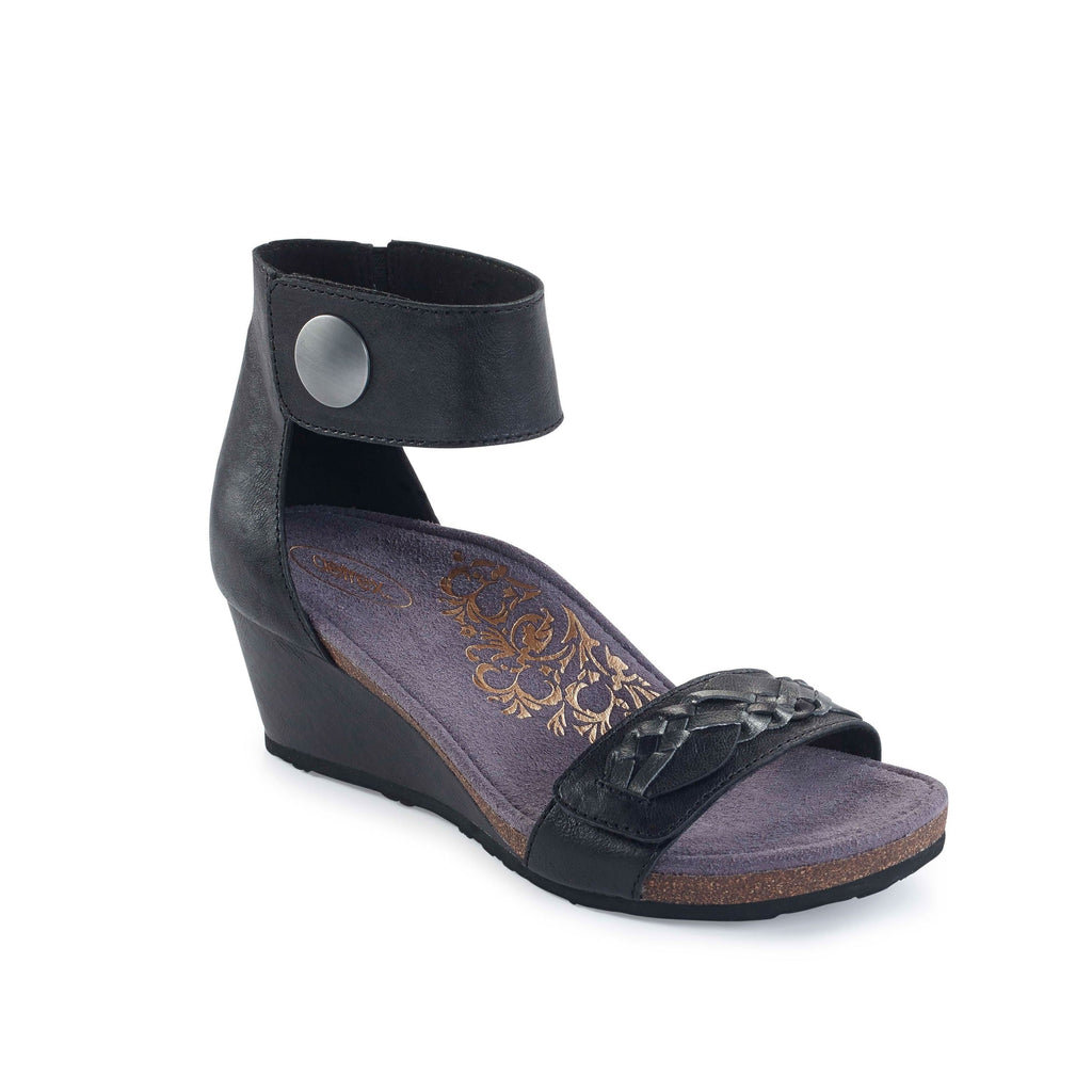 Aetrex Becca Ankle Strap Wedge Sandal (Black)