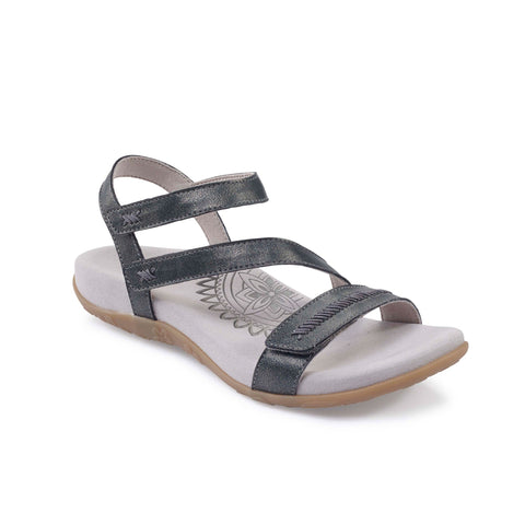 Aetrex Gabby Adjustable Quarter Strap (Pewter)