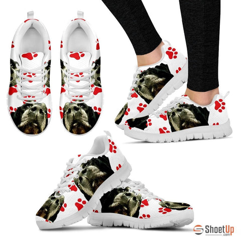 Customized Red Paws Dog Print (Black/White) Running Shoes - Free Shipping