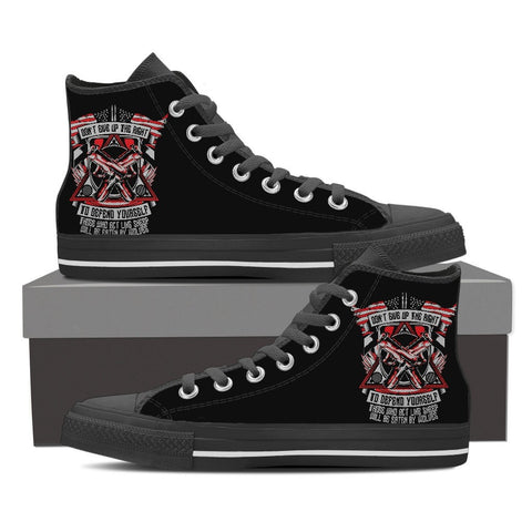 Defend Yourself - Men's Canvas High Tops- Free Shipping