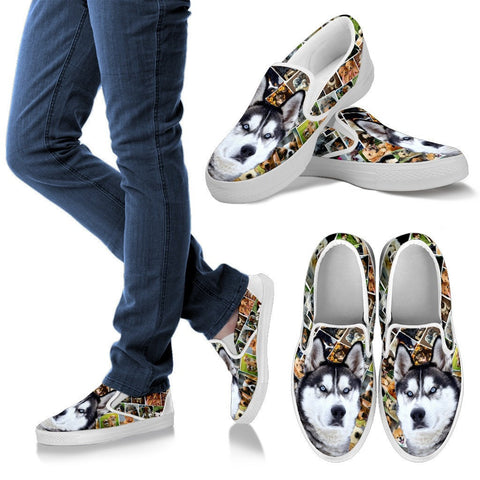 Amazing Siberian Husky Dog Print Slip Ons For Women-Express Shipping
