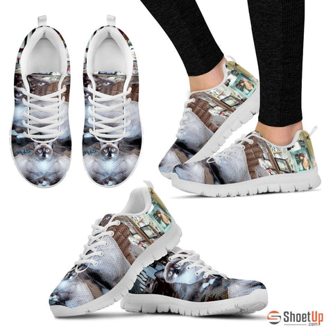White Cat Print Running Shoes - Free Shipping