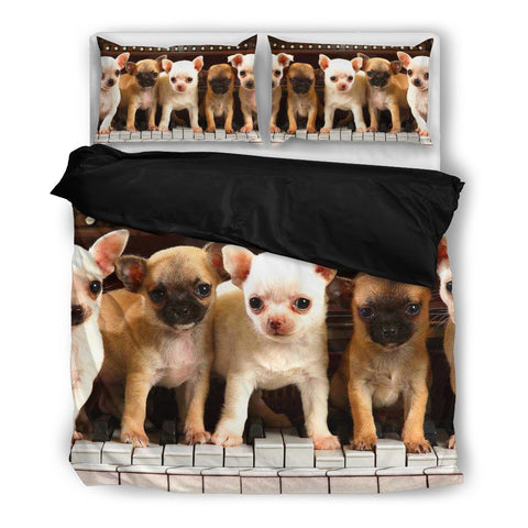 Chihuahua On Piano Men Women Bedding Set- Free Shipping