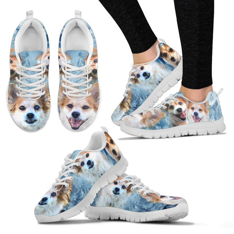 Customized Dog On Ice Blue Print Sneakers For Women-Designed By Sandy Hunter-Express Shipping
