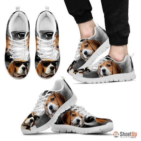 Beagle Dog With Glasses Men  Running Shoes - Free Shipping