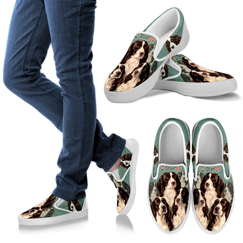 Lovely English Springer Spaniel Print Slip Ons For Women-Free Shipping