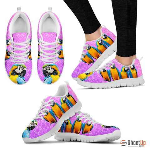 Blue And Yellow Macaw Parrot Running Shoes For Women-Free Shipping