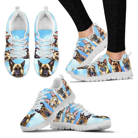 Painted German Shepherd Print Running Shoes - Free Shipping