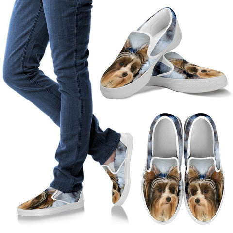 Biewer Terrier Print Slip Ons For Women- Express Shipping